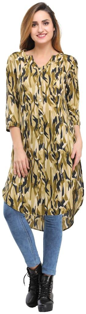 Desi Knots Women Crepe Printed A line Kurta - Multi