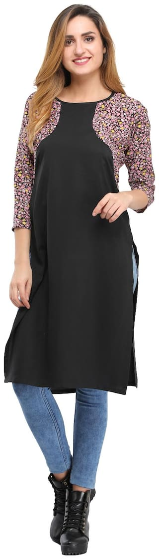 Desi Knots Women Crepe Printed Straight Kurta - Black