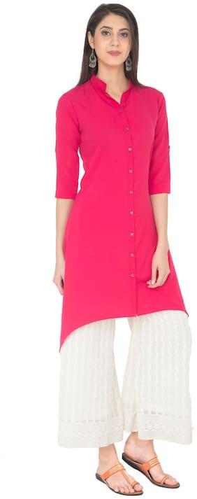 Desi Knots Women Crepe Solid A line Kurta - Pink