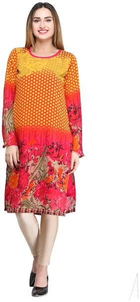 Desi Knots Women Georgette Floral Straight Kurta - Multi