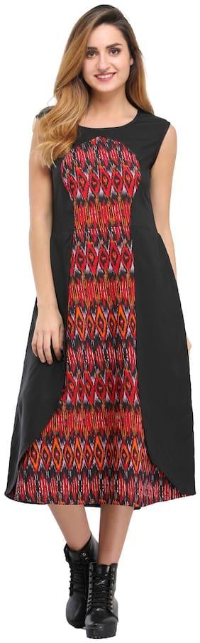 Desi Knots Women Crepe Printed Layered Kurti dress - Black