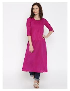 DESI WEAVESS Women Cotton Solid A line Kurta - Pink