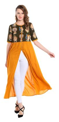 Desi Weavess Women Yellow Printed A Line Kurta