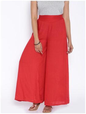 Desi Weavess Bold Solid Colored Red Rayon Palazzos