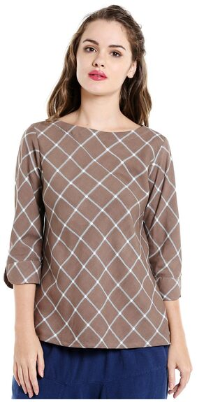 Desi Weavess Beige Checks Bias Printed Top