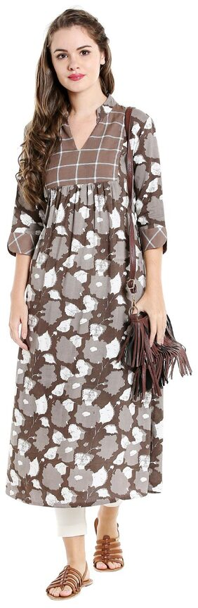 Desi Weavess Women Beige A-Line Kurta With 3/4Th Sleeve