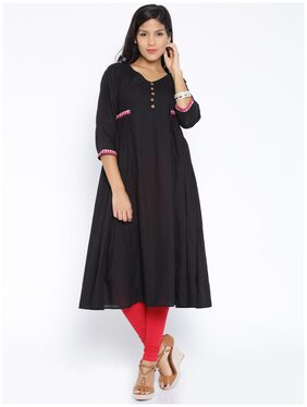 Desi Weavess Black Solid Flared Kurta
