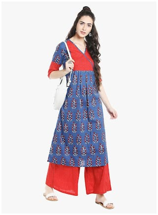 weavess dots printed Desi red palazzo flair 1qvvFwx