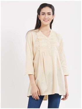 Desi Weavess offwhite buttoned down pleated cotton shirt top