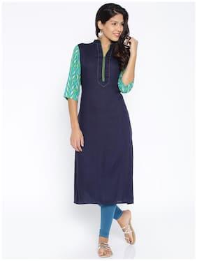 DESI WEAVESS Women Cotton Solid A line Kurta - Blue