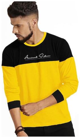 Design Cafe Men Black & Yellow Regular fit Cotton Round neck T-Shirt - Pack Of 1