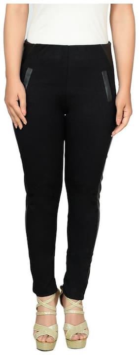 Fashion Wing Women Regular fit Mid rise Solid Jegging - Black