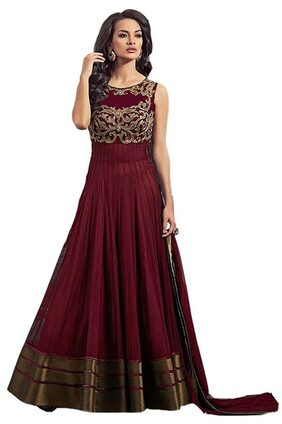 Designer Maroon color Smooth Net Material with Santoon Inner Floor-touch Gown Look Semi-Stiched Dress By Omstar Fashion