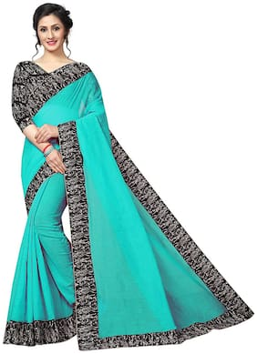 Designs saree for women soft cotton silk with fancy lace border