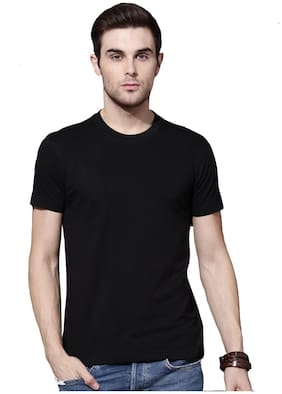 DEWY Men Black Regular fit Polyester Round neck T-Shirt - Pack Of 1