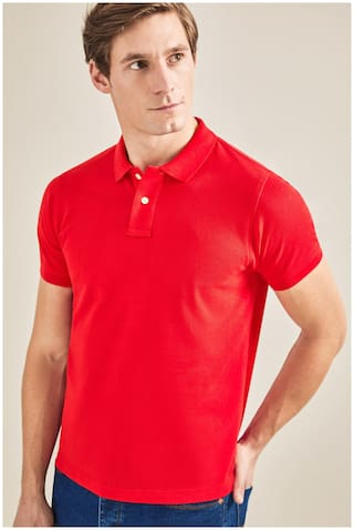 DEWY Men Red Regular fit Cotton Blend Polo collar T-Shirt - Pack Of 1