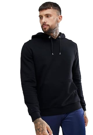 DEWY Men Black Hooded Hoodie