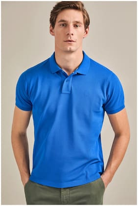 DEWY Men Blue Regular fit Cotton Blend Polo collar T-Shirt - Pack Of 1