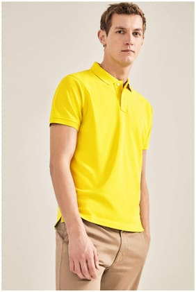 DEWY Men Yellow Regular fit Cotton Blend Polo collar T-Shirt - Pack Of 1