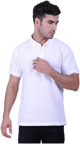 DEWY Men White Regular fit Cotton Blend Polo collar T-Shirt - Pack Of 1