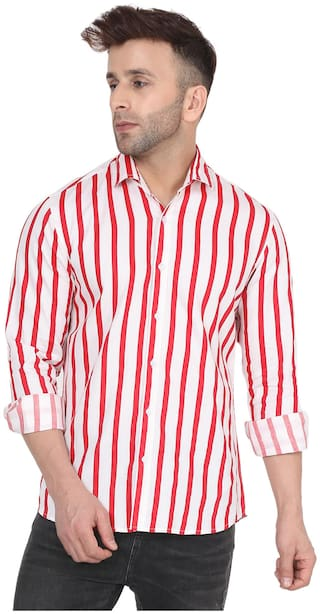 DEZANO Men Red & White Vertical Stripes Regular Fit Casual Shirt