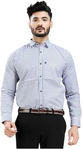 DEZANO Men Blue Checked Regular Fit Casual Shirt