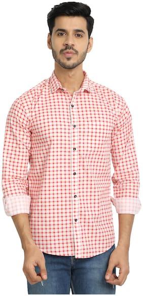 DEZANO Men Red & White Checked Regular Fit Casual Shirt