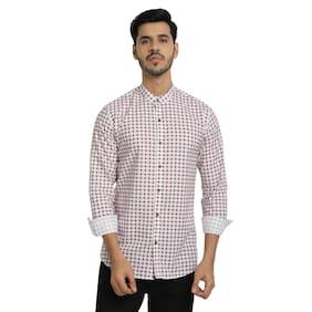 DEZANO Men Maroon & White Checked Regular Fit Casual Shirt
