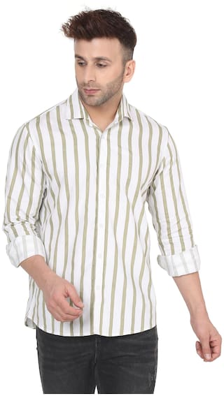 DEZANO Men Beige & White Vertical Stripes Regular Fit Casual Shirt