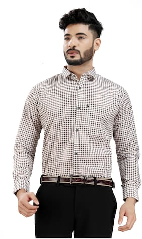 DEZANO Men Brown Checked Regular Fit Casual Shirt