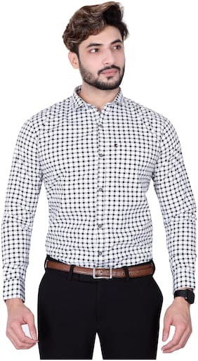 DEZANO Men Black Checked Regular Fit Casual Shirt