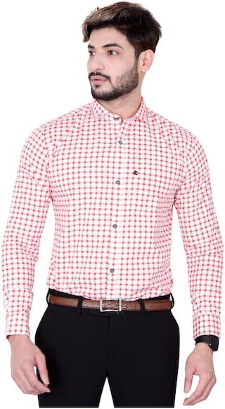 DEZANO Men Red Checked Regular Fit Casual Shirt
