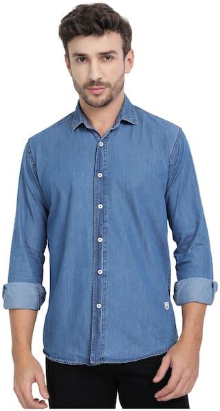 DEZANO Men Blue Solid Super Slim Fit Casual Shirt