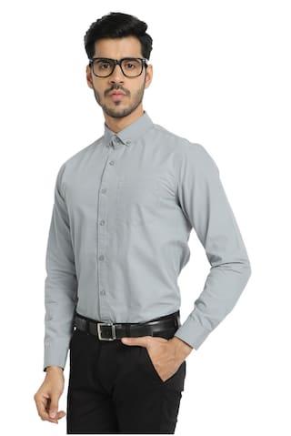 DEZANO Men Regular fit Formal Shirt - Grey