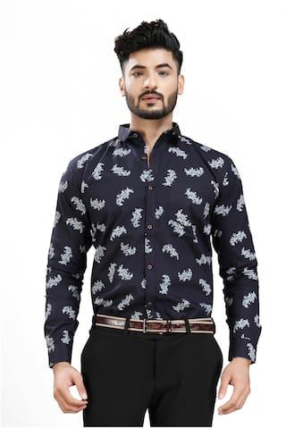 DEZANO Men Black Printed Slim Fit Casual Shirt