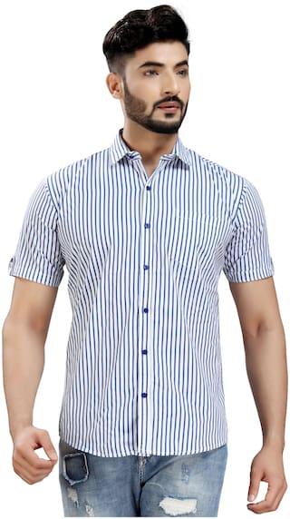 DEZANO Men Blue & White Vertical Stripes Regular Fit Casual Shirt
