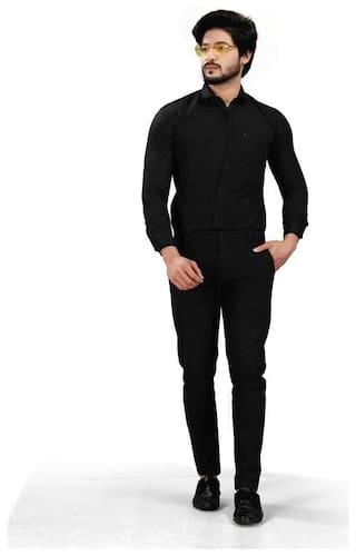 DEZANO Men Regular fit Formal Shirt - Black