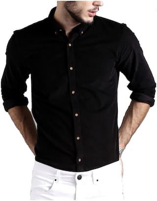 DEZANO Men Black Solid Regular Fit Casual Shirt
