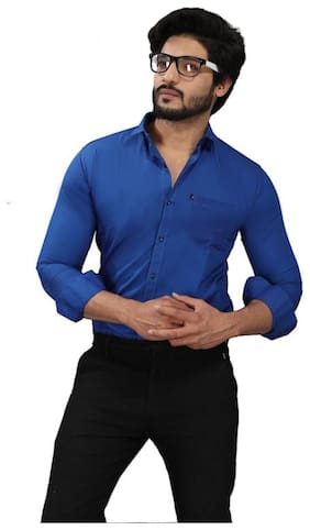 DEZANO Men Regular fit Formal Shirt - Blue