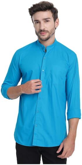 DEZANO Men Cotton Solid Turquoise  Casual Shirt