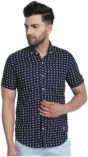 DEZANO Men Navy Blue Printed Regular Fit Casual Shirt