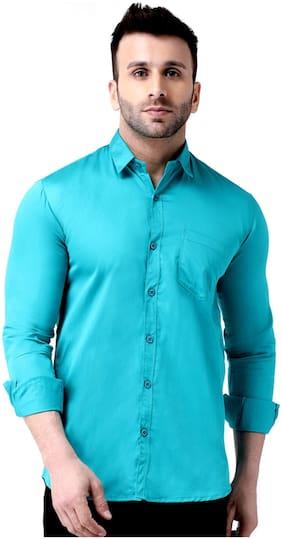 DEZANO Men Regular fit Formal Shirt - Blue