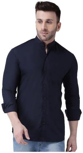 DEZANO Men Navy Blue Solid Regular Fit Casual Shirt