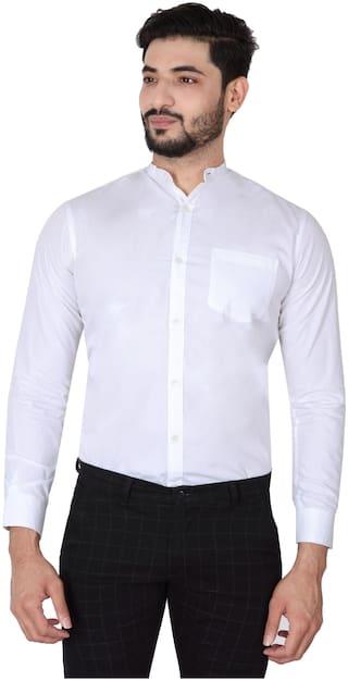 DEZANO Men White Solid Regular Fit Casual Shirt