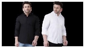 DEZANO Men Slim fit Formal Shirt - White & Black