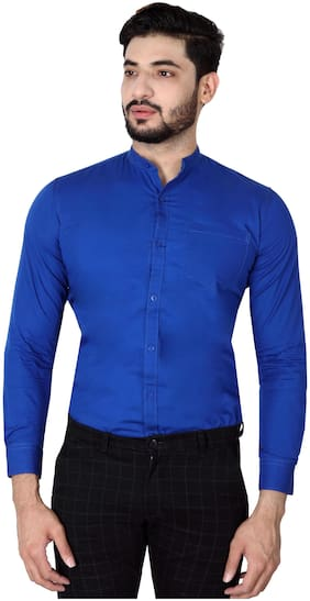 DEZANO Men Blue Solid Regular Fit Casual Shirt
