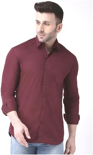 DEZANO Men Regular fit Formal Shirt - Maroon