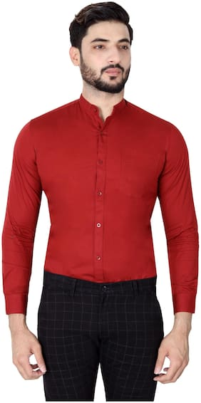 DEZANO Men Maroon Solid Regular Fit Casual Shirt