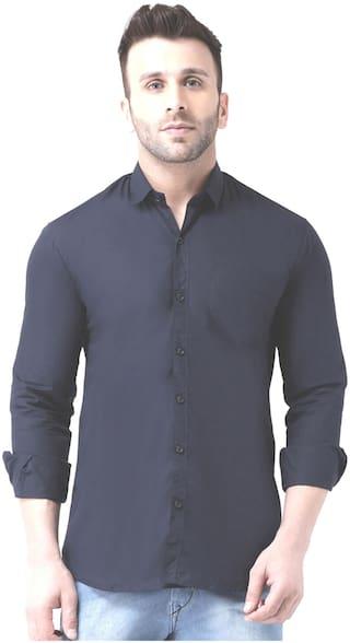 DEZANO Men Regular fit Formal Shirt - Navy blue