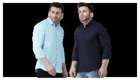 DEZANO Men Slim fit Formal Shirt - Blue & Black